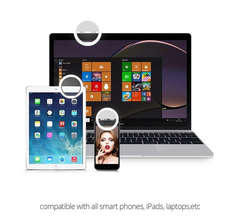 Selfie Ring Fill Light easy to mount on different devices